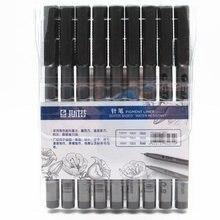 Sta pigmento fino forro caneta 9 cores definir à prova dwaterproof água preto ponta esboço marcador caneta micron agulha caneta para manga desenho arte suprimentos