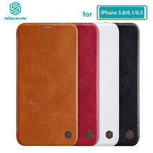 Funda de cuero PU con tapa para iPhone, protector para iPhone X Xs Max 7 8 Plus 12 Mini 11 Pro Max Nillkin Qin Series