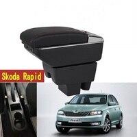 Para skoda caixa de apoio de braço rápido loja central caixa conteúdo com suporte copo cinzeiro usb caixa de braços rápidos