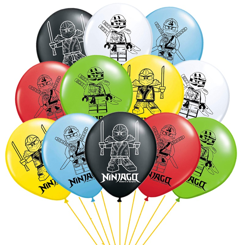 Новинка, 12 шт./лот, 12-дюймовые воздушные шары ниндзя, латексные шары на тему детского дня рождения, украшение для вечерние ринки в честь Дня р...
