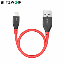 Blitzwolf cabo de lightning BW MF11, cabo de 30cm 2.4a certificado de mfi, compatível com cabo de dados de carregamento rápido para iphone 11 pro xr para ipad