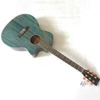 hand polish 40 inch vintage blue acoustic guitar high gloss 6 string 20 frets cutway design folk guitar free case wholesale
