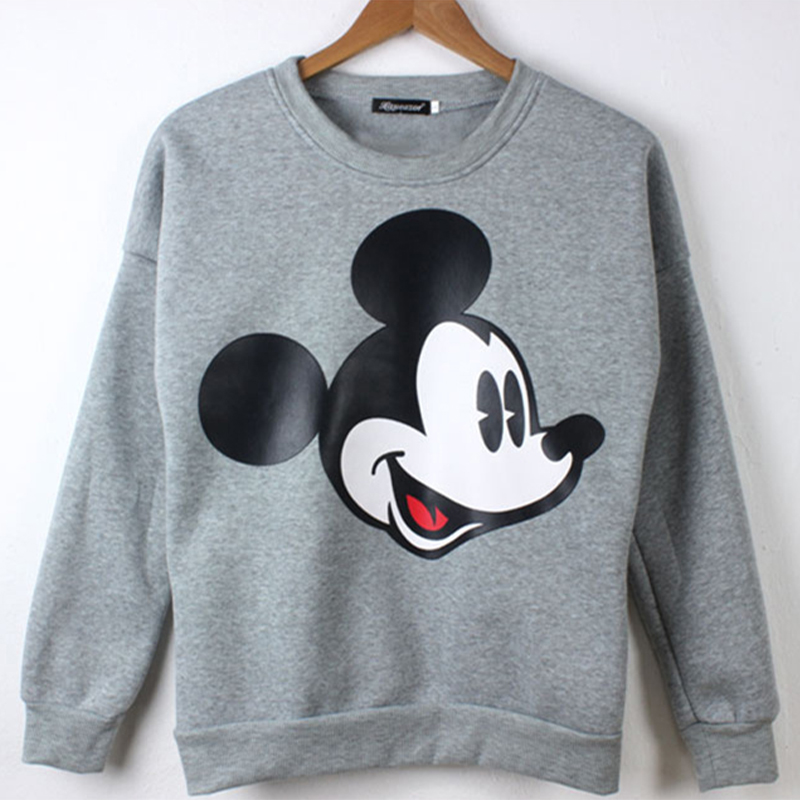 Women Sweatshirts Mickey Hoodies Character Printed Casual Pullover Cute Jumpers Top Long Sleeve O-Neck Fleece Minnie Tops M-4XL