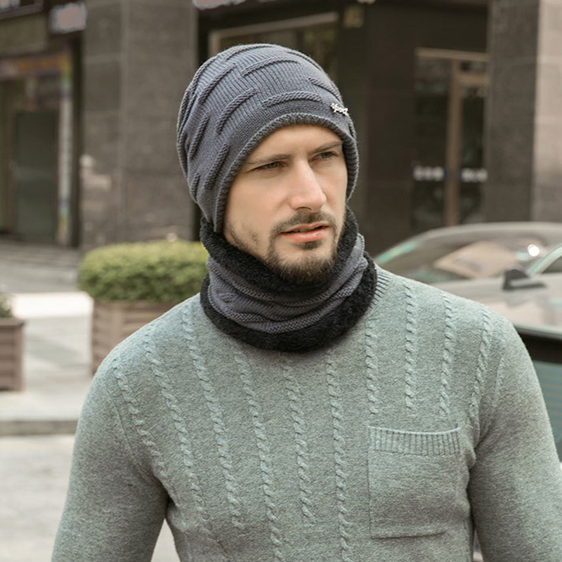 Hat Men's New Autumn And Winter Plus Velvet Thick Warm Knit Hat + Bib 2 Sets Of Winter Europe And Wool Hat Outdoor Hat