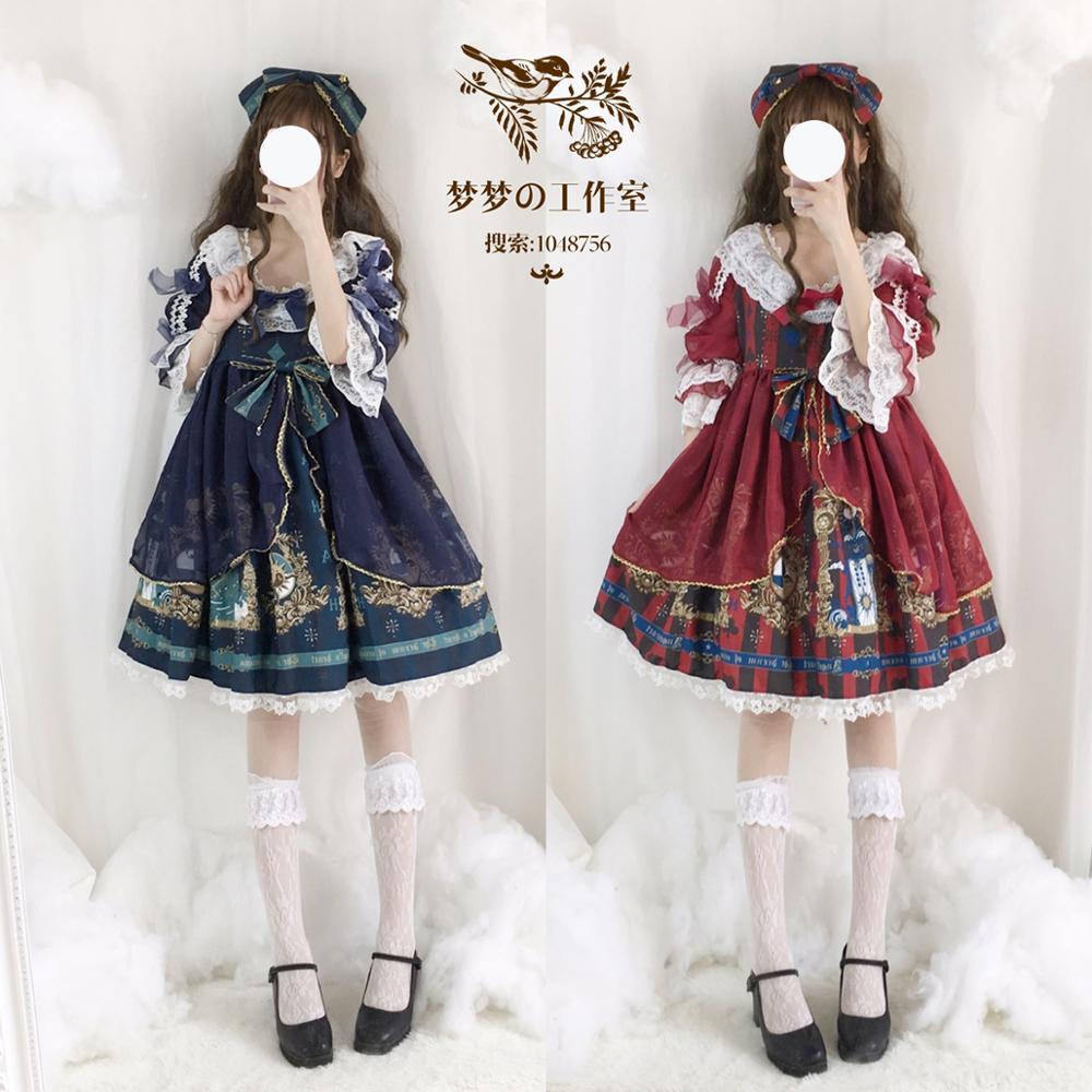 Японское женское винтажное платье лолиты с длинным рукавом, Милый принт в виде сердца ангела, бант, Лолита, косплей, платье для девочек подро...
