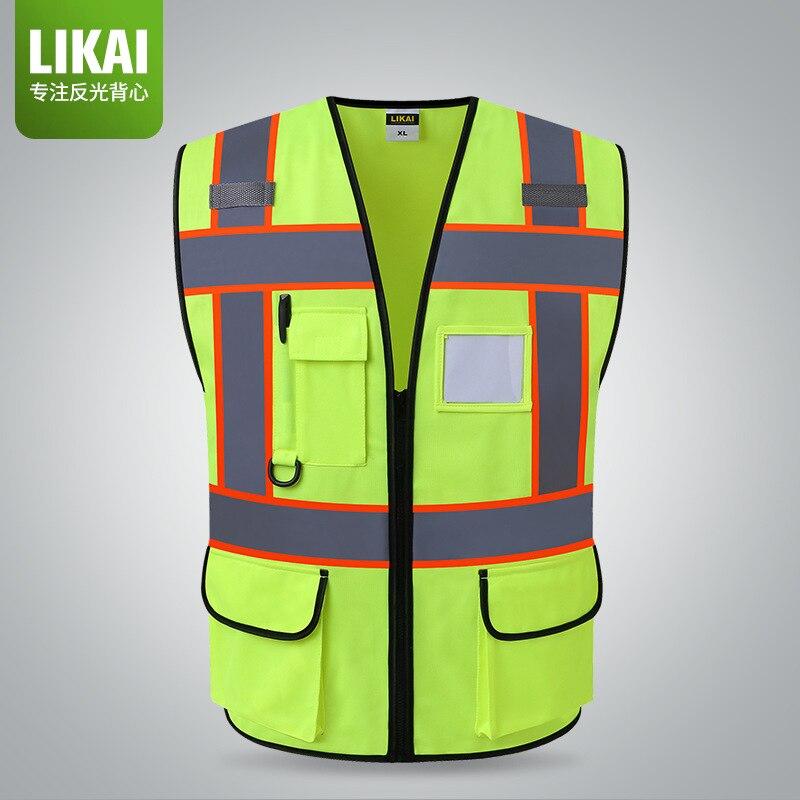 Likai Reflective Vest Architecture Engineering Construction Safe Protective Waistcoat Security Staff Patrol Traffic Warning Fluo