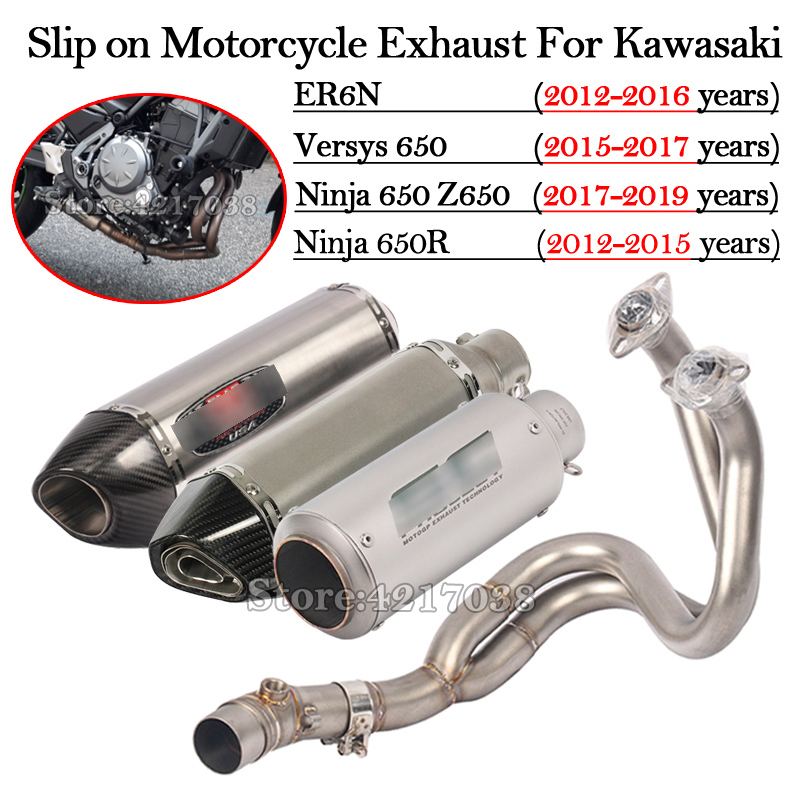 Slip On Motorcycle Exhaust Modified Motorbike Escape DB Killer Front Mid Link Pipe For Kawasaki ER6N Versys 650 Z650 Ninja 650 R
