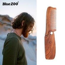 Bluezoo black gold sandalwood folding comb + PU leather bag hair beard portable care Moustache Hair Care Tools