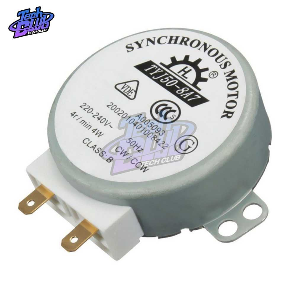 Moteur synchrone TYJ50-8A7 220-240 V AC 4 tr//min CW//CCW 50 Hz pour four micro-ondes