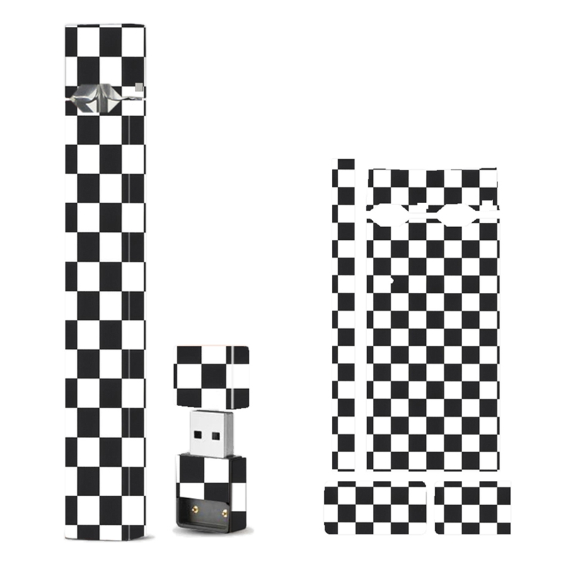 2.5D Stereo Black And White Grid Print Stickers Vape Case Cover Electronic Cigarette Stickers For JUUL