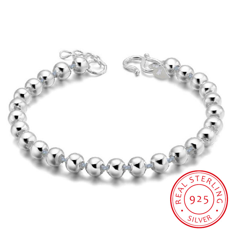 Wholesale European Fashion Woman Girl Party Birthday Wedding Gift Vintage Beads Bell 925 Sterling Silver Bracelet