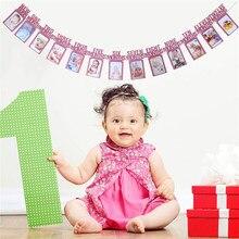 13 pces cardstock foto banner 1st festa de aniversário para aposição de recém nascido a 12th mês fotos decoração de parede