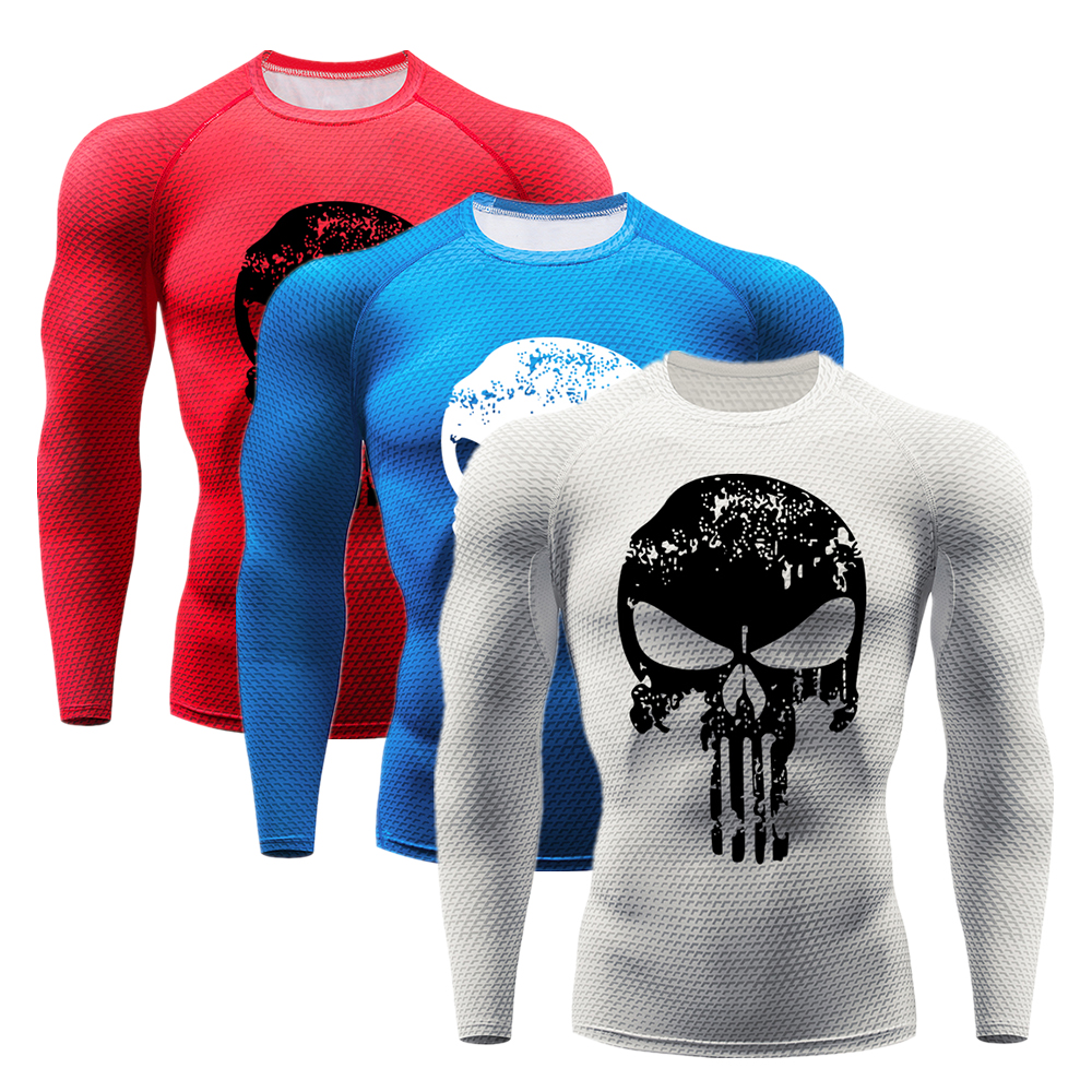 Men Long Sleeve T-shirt 3D Printed Fitness Compression Tops Gym Activewear
