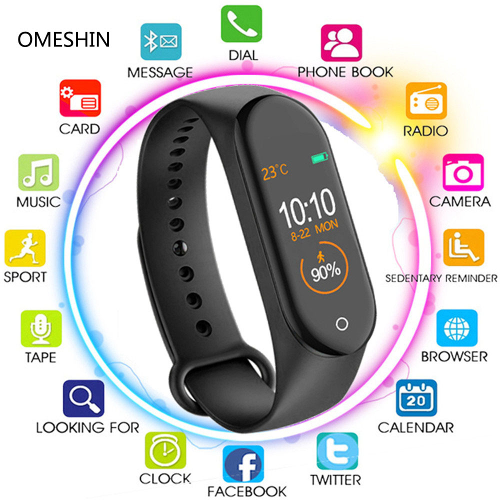 2019 M4 Plus SmartWatch Heart Rate Monitor Blood Pressure Sport Bracelet Waterproof Fitness Tracker Activity Tracker Smart Watch
