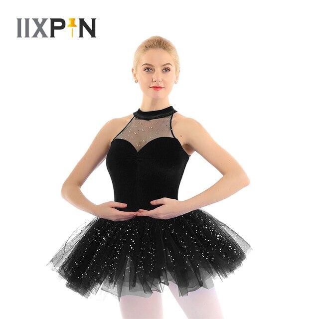 Mulheres vestido de ballet tutu bailarina Brilhante Lantejoula tutu de balé Vestido de Tutu de Balé De Dança Collant Sem Mangas Keyhole Voltar Corpete De Veludo