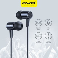 Awei L2 Verdrahtete Earpuds 3,5mm Stecker HiFi Stereo Surround Earbuds In-ohr Draht-Gesteuert Mikrofon Anruf Musik verdrahtete Kopfhörer