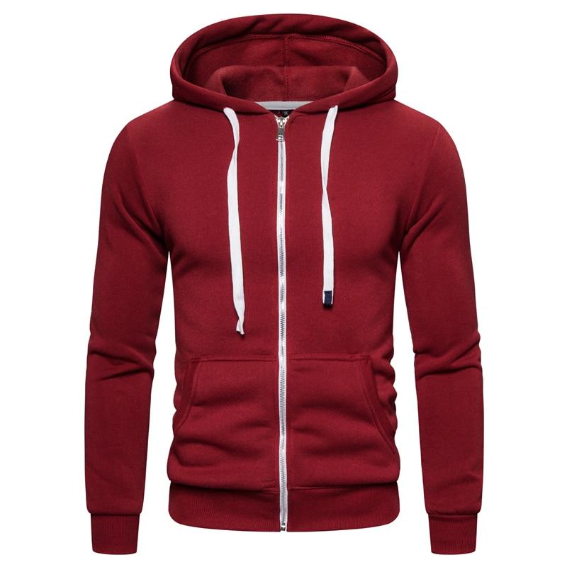 2019 New Autumn Winter Cotton Hoodied Mens Sweatshirts Solid Hoody Fleece Thick Hoodies Men Sportswear Zipper Sweatshirts Men 8