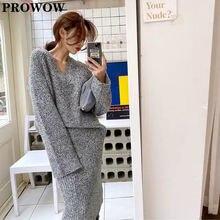 Женский комплект из 2 предметов трикотажный пуловер с v образным