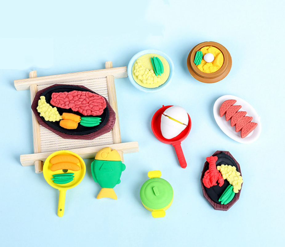 Eraser Set TPR Rubber Cute Cook Food Fish Rice Meat Pencil Erasers Stationery For Kids Gifts School Supplies Prize