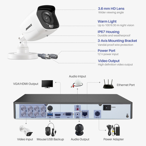 ANNKE 4K Ultra FHD полноцветная система видеонаблюдения 8CH 8MP H.265 + DVR с 8MP наружными всепогодными камерами видеонаблюдения