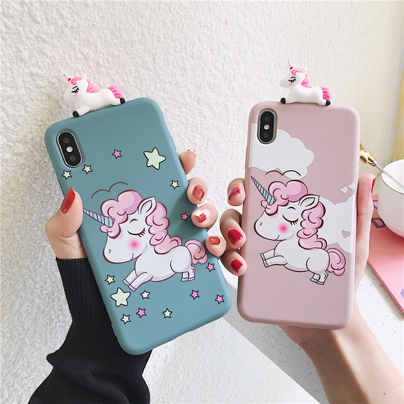 Unicorn Case For iPhone 7 Minnie Puppy Dog Soft Silicone 3D Toy Cover for iPhone 6 6s 7 8 Plus X XR XS 11 Pro Max Coque Funda(China)