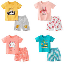 Kids Baby Clothing 2PCS/Set Cotton Summer Baby Children Soft Shorts T-Shirt Todder Boy Girl Kids Cartoon Cute Play Clothes 0-6Y