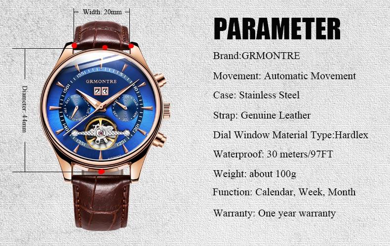 Hda4924e2b0b5400a82e5519da25c3800H Skeleton Tourbillon Mechanical Watch Men Automatic Classic Rose Gold Leather Mechanical Wrist Watches Reloj Hombre 2018 Luxury