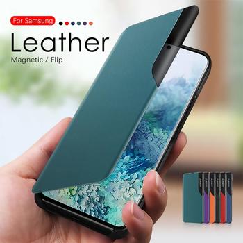 Skórzany magnetyczny inteligentny futerał do Samsung Galaxy A71 A51 A72 A52 S20 10 Plus uwaga 20 Ultra uwaga 10 9 Plus stojak telefon pokrywa Coque tanie i dobre opinie FEGENGYUOYUN CN (pochodzenie) Etui z klapką new leather Magnetic smart view book case Zwykły