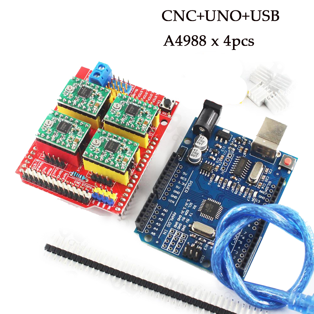 CNC shield V3 3D Printer UNO R3 with USB 30CM cable 4pcs A4988 driver expansion board for cnc v3 engraving machine