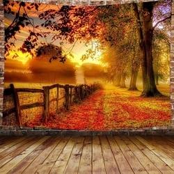 Лес кленовый лист красный гобелен с изображение листьев Пейзаж для номер Декор стен Одеяло Шторы для Спальня 95x7 3 см/150x10 0 см/150X130cm