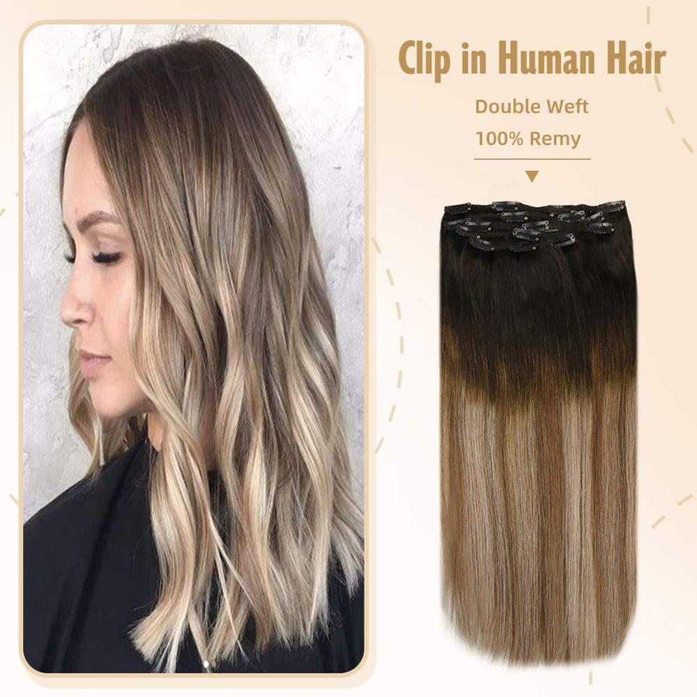 VeSunny Double Weft Clip In Hair Extensions Human Hair 7pcs 120gr Clip On Hair Balayage Ombre Brown Highlighted Blonde #2/6/18A