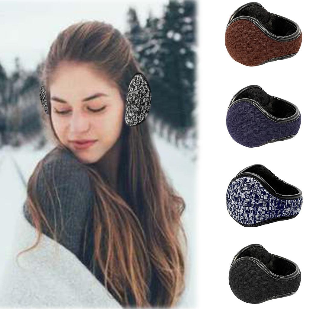 Women Winter Earmuffs Warm Wool Knitted Ear Warmer Foldable Faux Cashmere Ear Muff Ear Cover Bag Back Wear Earflap For Men #3