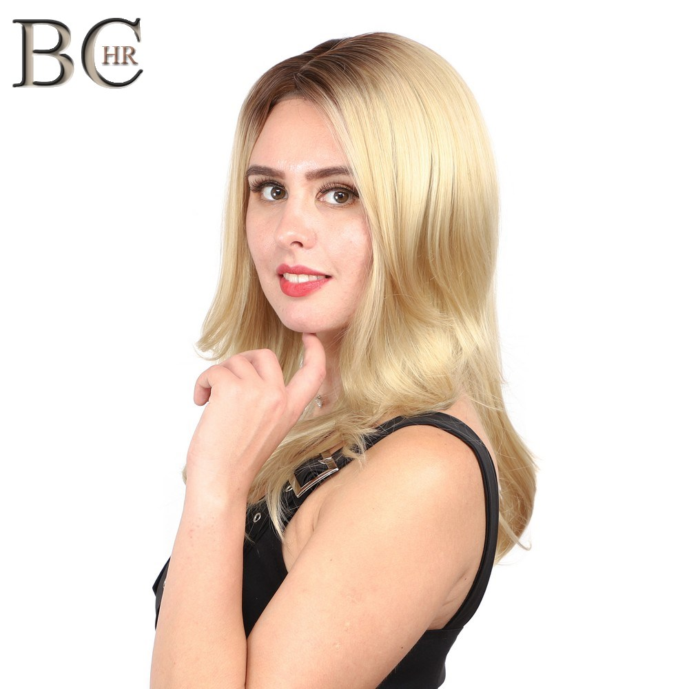 BCHR 24 Inch Blonde 13*4 Synthetic Lace Front Wigs For Women Long Wavy Heat Resistant Fiber Ombre Wig Free Shipping