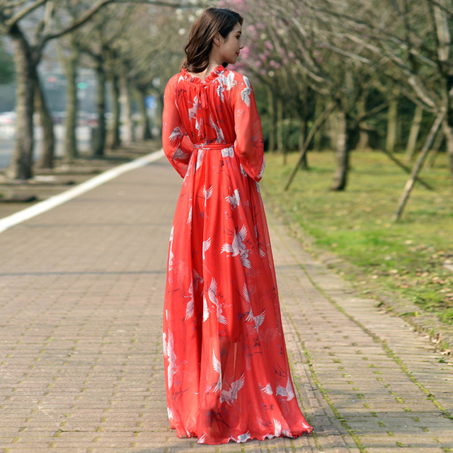 Long Sleeve Bohemian Chiffon Floral Long Plus Size Summer Wedding Guest Beach Holiday Floryday Maxi Dress Bridesmaid Sundress 3