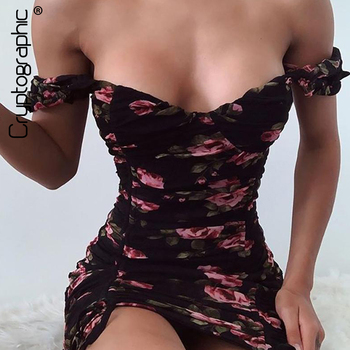 Cryptographic Floral Print Mesh Ruched Off Shoulder Mini Dresses Summer Sexy Sleeveless Backless Party Club Women Dress Bodycon cryptographic fashion print drawstring ruched mini dresses spaghetti strap sexy women party club dress 2020 summer dress bodycon