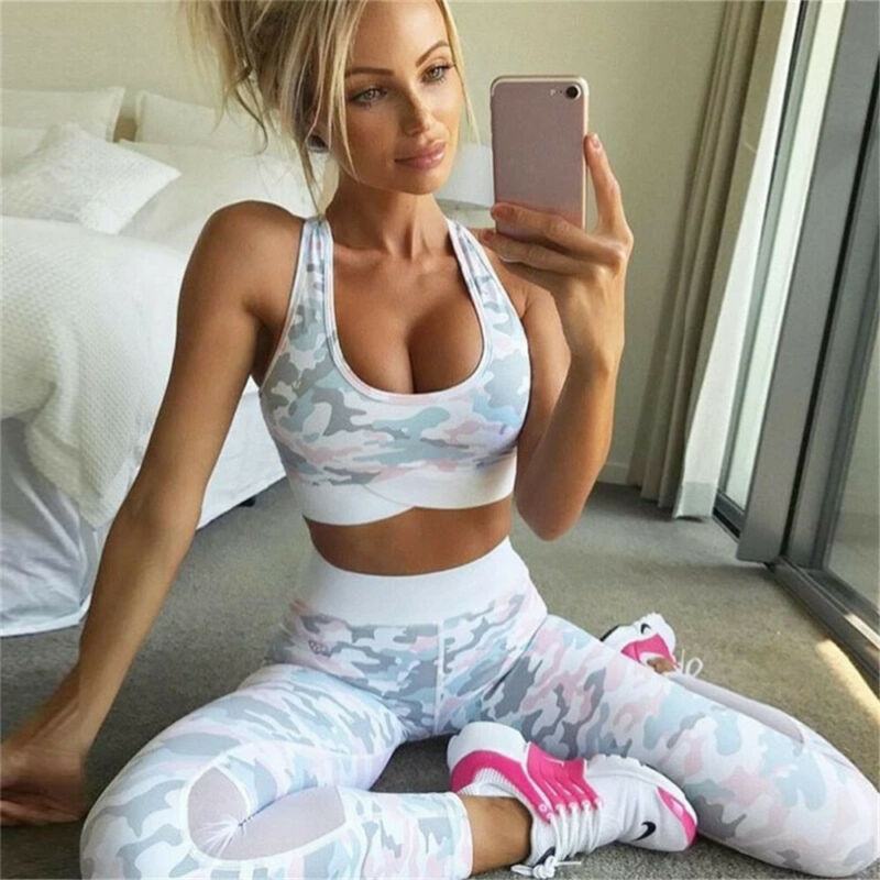 2 Piece Womens Yoga Suit Femme Workout Sports Bra and Leggings Set Sports Wear for Women Gym Clothing Athletic Fitness Tracksuit