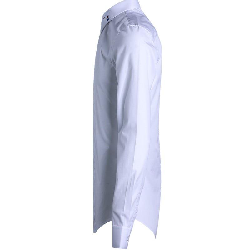 Classic Embroidery Men Shirt Long Sleeve Slim Casual Office Shirt Fashion Black/White/Dark Blue Square Collar Formal Shirt Male