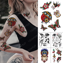 Sword Temporary-Tattoo-Sticker Tattoos-Rose Swallow Fake Butterfly Old-School Tatoo Women