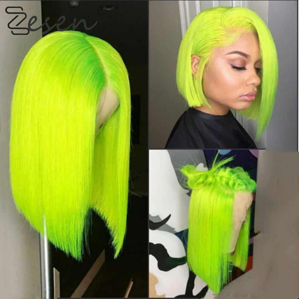 Zesen 13*4 syntetyczna koronka peruka Front proste włosy Bob peruki kolor Ombre i zielony kolor koronki Frontal Cosplay krótkie peruki dla kobiet