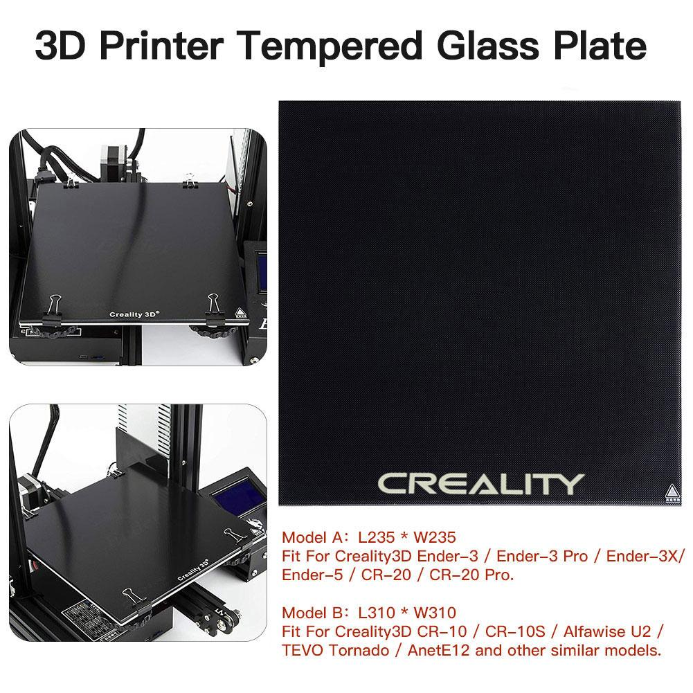 <font><b>CREALITY</b></font> <font><b>3D</b></font> Tempered Glass Platform Heated Bed Build Surface Fit For <font><b>Ender</b></font>-<font><b>3</b></font>/<font><b>Ender</b></font>-<font><b>3</b></font> <font><b>Pro</b></font>/<font><b>Ender</b></font>-5/CR-20/CR-20 <font><b>Pro</b></font> Printer image