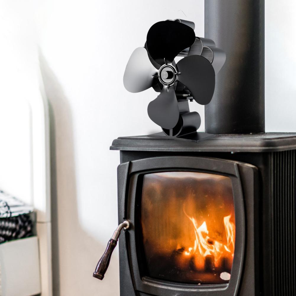 4 Blades Heat Powered Stove Fan Environmentally Friendly Energy-saving Thermal Power Fan European And American Fireplace Fan