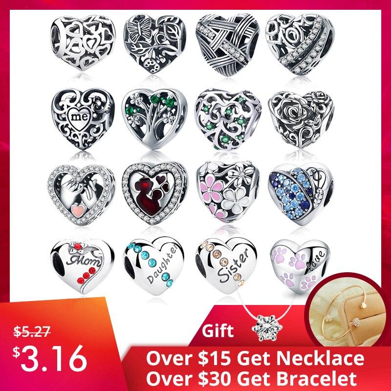 Heart-Shape Pendants Jewelry Bracelet Beads Charm 925-Sterling-Silver Original 100%Authentic