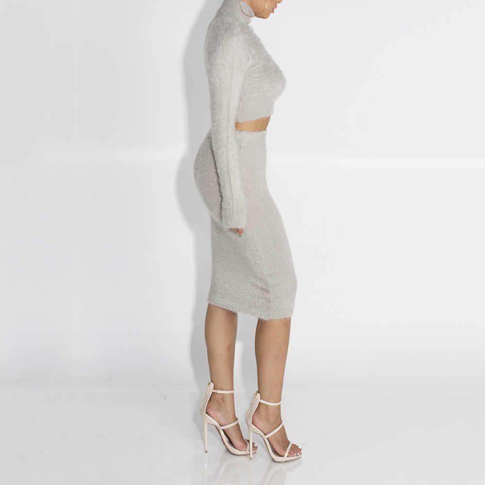 WENYUJH 女性セーター + ペンシルスカートスーツ長袖フリース作物トップススカート 2 枚セット女性ニットトラックスーツ