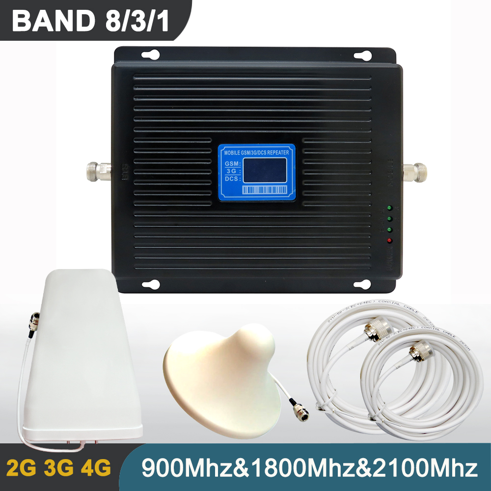 Tri Band Signal Repeater Set High Gain <font><b>75DB</b></font> <font><b>2G</b></font> <font><b>3G</b></font> <font><b>4G</b></font> <font><b>GSM</b></font> WCDMA DCS Mobile Phone Cellular Booster Amplifier BAND 8 3 1 + Antenna image