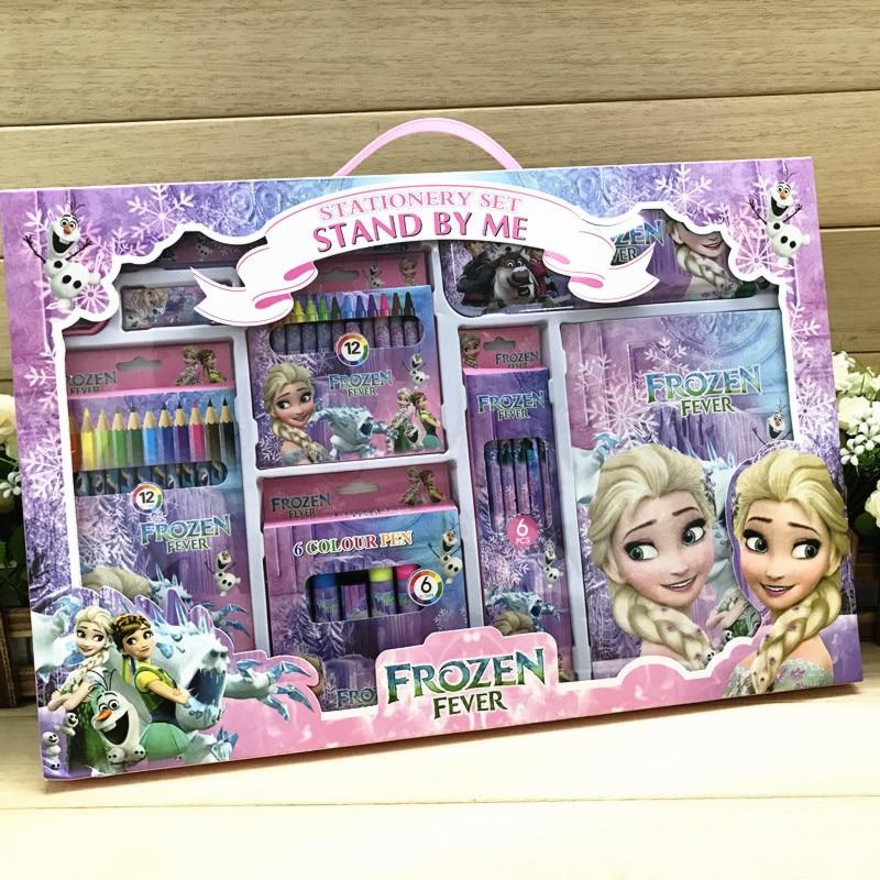 Kawaii Frozen Mickey Minnie Creative Birthday Gift Child Stationery Gift Set Primary School Painting Supplies Watercolor Brush