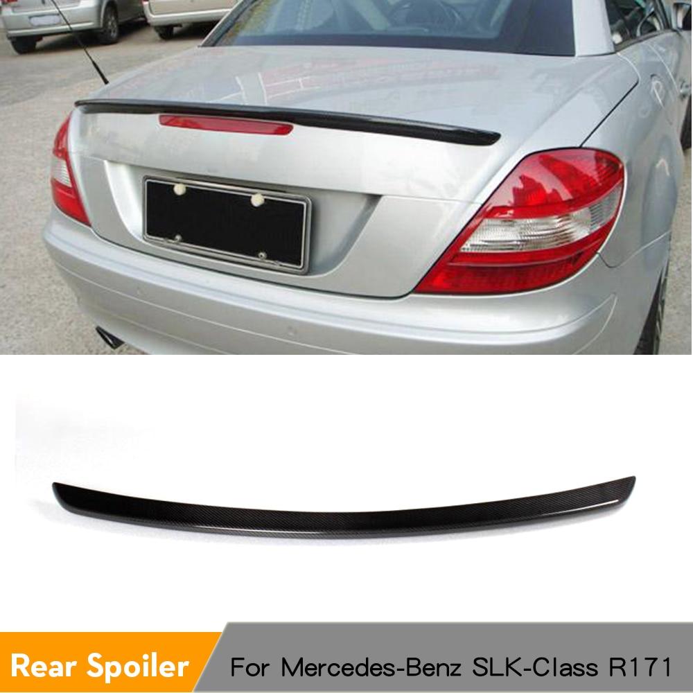 Roda Karbon Belang Trunk Lip Spoiler Boot Wing untuk Mercedes-Benz SLK-Class R171 SLK200 SLK300 SLK55 2005 - 2010 FRP Unpainted