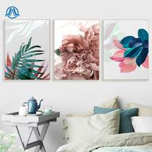 Wall Pictures For Living Room Pink Leaf Cuadros Picture Nordic Poster Floral Art Canvas Painting Botanical And Print