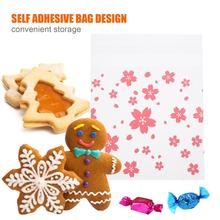 200Pcs Cherry Blossoms Wrapping Bags 10 X 10cm Medium Size Sakura Frosted Packing Bags Cookies Candy Home DIY Containers Bags