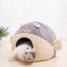 Nouvelles fournitures de maison en peluche pour chat, lit chaud pour poisson bouffant avec plancher, lits d'hiver, accessoires de maison pour petit chat, nouvelle collection