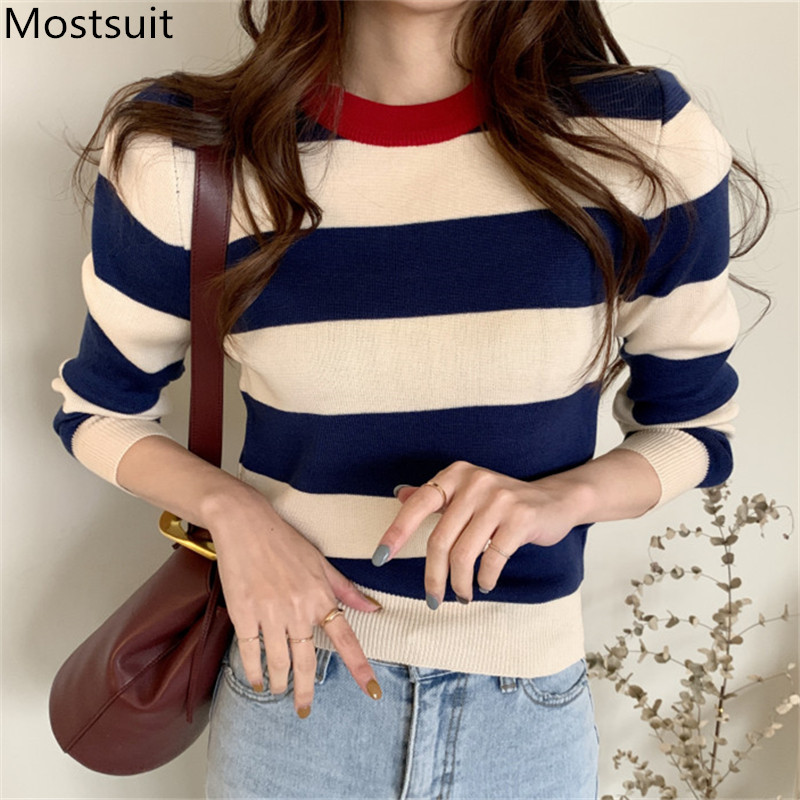 2020 Spring Korean Knitted Striped Pullover Sweater Women Long Sleeve O-neck Vintage Fashion Casual Female Tops Sweaters